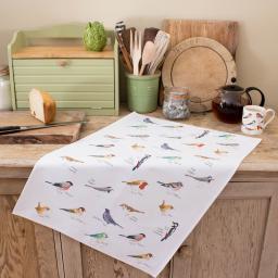 tea towel with garden bird design