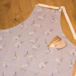 An apron with a Hare & Dandelion design