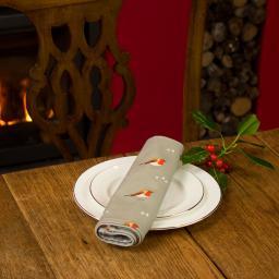 A napkin with a Robin & Mistletoe design