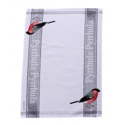 tea towel with bullfinch design