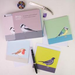 bird notelets - a boxed set of 8 notelets featuring garden birds