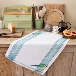 tea towel with blue tit design