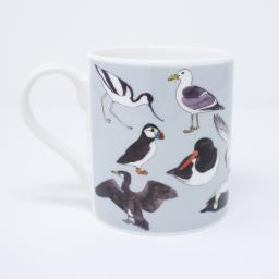 Mug with bird design - sea birds with a grey background