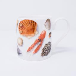 mug with shellfish design, seashells