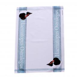 tea towel with oystercatcher design