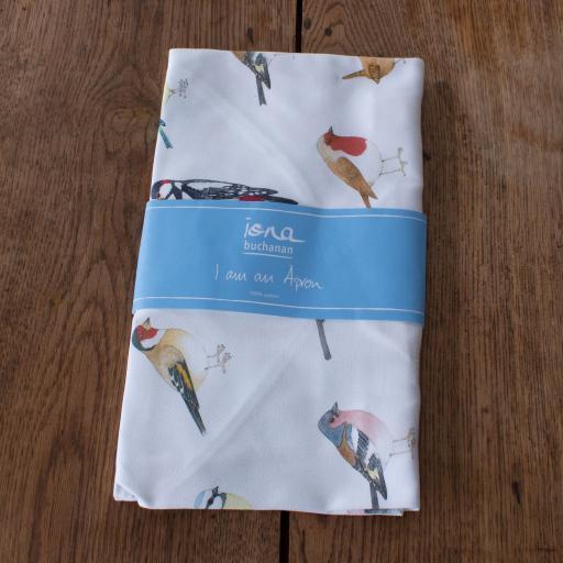tea towel with garden bird design in packaging