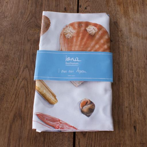 Apron - shellfish design, sea shells in packaging