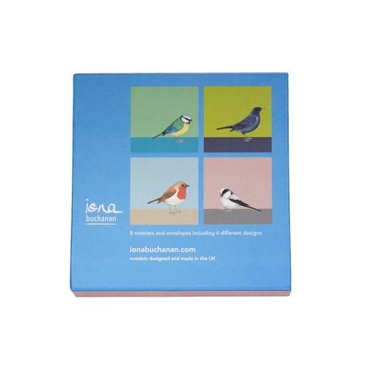 bird notelets - the back of a boxed set of 8 notelets featuring garden birds