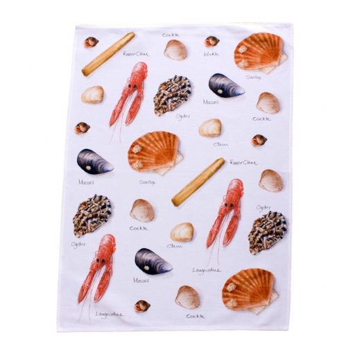 tea towel with shellfish, sea shell design