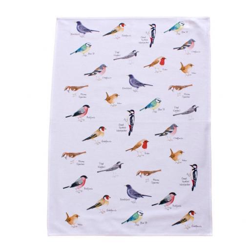 tea towel with garden birds design