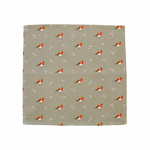 Robin & Mistletoe napkins - Set of 4