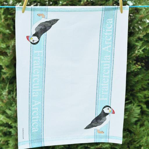 tea towel with Puffin design