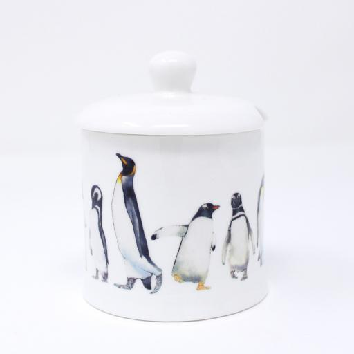 Penguin parade jam pot with lid on