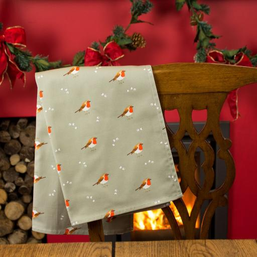 Robin & Mistletoe tea towel